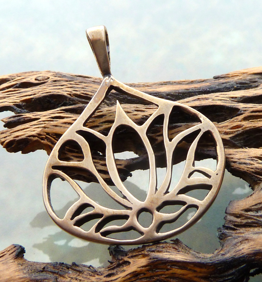 Bronze Lotus Flower Pendant (3/4)