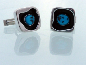 turquoise and brushed silver shadowbox cufflinks 2011