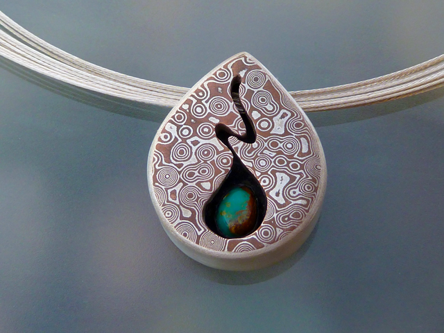 Mokume Tear with Turquoise Pendant (3/5)