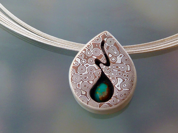 Mokume Tear with Turquoise Pendant (1/5)