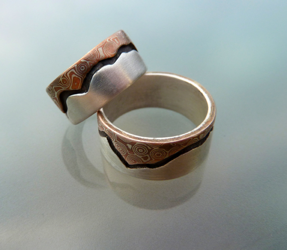 Mountain's Majesty - Mokume and Silver Wedding Rings  (2/6)