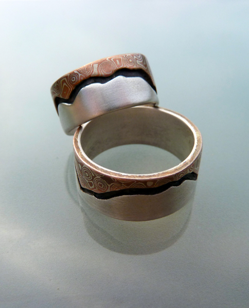 Mountain's Majesty - Mokume and Silver Wedding Rings  (3/6)