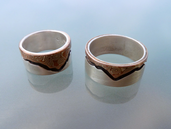 Mountain's Majesty - Mokume and Silver Wedding Rings  (4/6)
