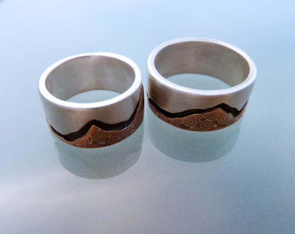 Mountain's Majesty - Mokume and Silver Wedding Rings  (5/6)