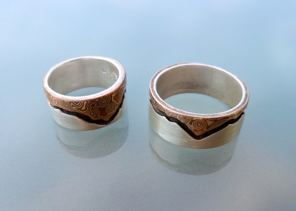 Mountain's Majesty - Mokume and Silver Wedding Rings  (6/6)