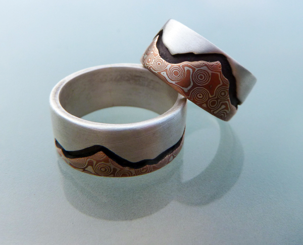 Mountain's Majesty - Mokume and Silver Wedding Rings  (1/6)